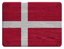 Denmark Flag. Painted on wood tag stock photos
