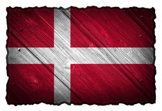 Denmark Flag. Painted on wood tag Royalty Free Stock Images