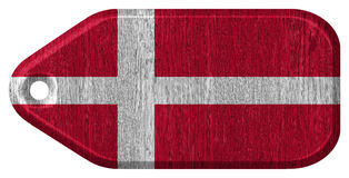 Denmark Flag. Painted on wood tag royalty free stock image
