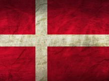 Denmark Flag on Paper. Flag on an old Paper Texture Royalty Free Stock Image