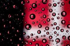 Denmark flag. Reflection of Denmark flag on water droplet Stock Images