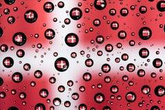 Denmark flag. Reflection of Denmark flag on water droplet Stock Photography