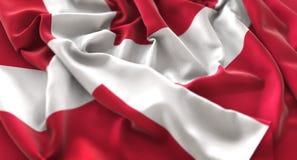 Denmark Flag Ruffled Beautifully Waving Macro Close-Up Shot. Studio Royalty Free Stock Photo
