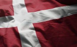 Denmark Flag Rumpled Close Up.  royalty free stock photo