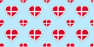 Denmark flag seamless pattern. Vector Danish flags stikers. Love hearts symbols. Good choice for patriotic, sports pages, travel, vector illustration