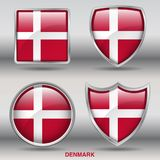 Denmark Flag in 4 shapes collection with clipping path royalty free stock photos