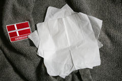 Denmark flag. On a textile material, red and white Royalty Free Stock Photos