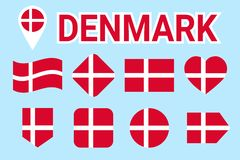 Denmark flag vector set. Collection of danish national flags. Flat isolated icons. Country name in traditional colors. Illustratio royalty free illustration