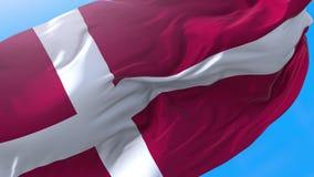 Denmark flag video waving in wind 4K stock footage