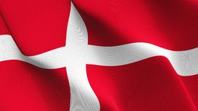 Denmark flag waving on wind. Danish background fullscreen flag blowing on wind. Realistic fabric texture on windy day Stock Photography