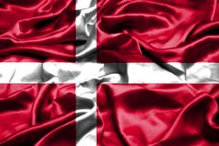 Denmark flag waving in the wind. Denmark flag waving in the wind royalty free stock images