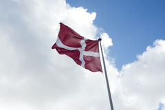 Denmark flag. Flag of Denmark in the wind Stock Images