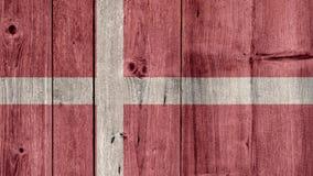 Denmark Flag Wooden Fence. Denmark Politics News Concept: Danish Flag Wooden Fence stock image