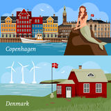 Denmark Flat Style Compositions. With buildings national flag sea and wind turbines famous mermaid isolated vector illustration Stock Photography