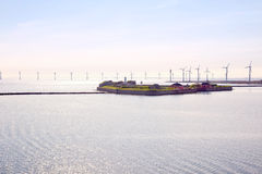 Denmark. Fortress Trekroner and wind generators Royalty Free Stock Images