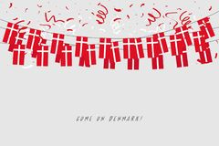 Denmark garland flag with confetti on gray background, Hang bunting for Denmark celebration template banner. Vector illustration vector illustration