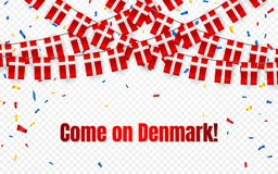 Denmark garland flag with confetti on transparent background, Hang bunting for celebration template banner, Vector illustration.  royalty free illustration
