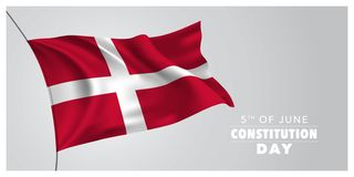 Denmark happy constitution day greeting card, banner, horizontal vector illustration. Danish holiday 5th of June design element with waving flag as a symbol of stock illustration