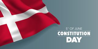 Denmark happy constitution day greeting card, banner with template text vector illustration. Danish memorial holiday 5th of June design element with red cross stock illustration