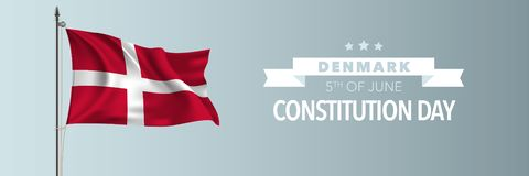 Denmark happy constitution day greeting card, banner vector illustration. Danish national holiday 5th of June design element with waving flag on flagpole royalty free illustration