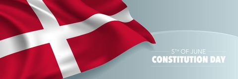 Denmark happy constitution day vector banner, greeting card. Danish wavy flag in 5th of June national patriotic holiday horizontal design stock illustration