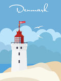 Denmark Holidays poster with lighthouse. Retro Denmark Holidays flat design poster or greeting card with Rubjergs Knude lighthouse in the dunes Royalty Free Stock Images