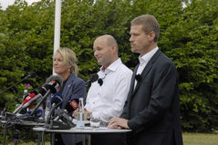 DENMARK_JOINT PRESS CONFERENCE. NYBORG/DENMARK- Soren Pape Poulsen (c) chairman of conservative political party  Ms.Lene Espersen former minister for foreign Royalty Free Stock Photography