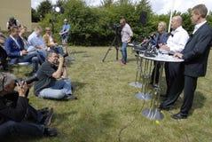 DENMARK_JOINT PRESS CONFERENCE. NYBORG/DENMARK- Soren Pape Poulsen (c) chairman of conservative political party  Ms.Lene Espersen former minister for foreign Stock Photo