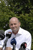 DENMARK_JOINT PRESS CONFERENCE. NYBORG/DENMARK- Soren Pape Poulsen (c) chairman of conservative political party  Ms.Lene Espersen former minister for foreign Royalty Free Stock Image