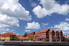 Denmark: Kerteminde town centre from harbour Stock Photo