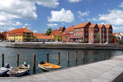 Denmark: Kerteminde town centre with harbour Royalty Free Stock Photography