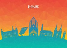 Denmark Landmark Global Travel And Journey paper background. Vec. Tor Design Template.used for your advertisement, book, banner, template, travel business or Royalty Free Stock Images