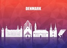 Denmark Landmark Global Travel And Journey paper background. Vec. Tor Design Template.used for your advertisement, book, banner, template, travel business or Stock Images