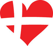 Denmark Love. Heart build out of the danish flag Stock Photo