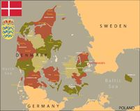 Denmark map. Stock Photo