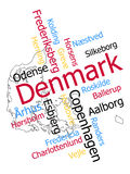 Denmark map and cities. Denmark map and words cloud with larger cities stock illustration