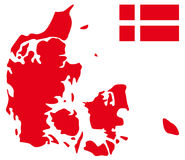 Denmark map and flag Stock Images
