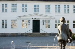 Denmark Maribo Market Square. With statue and fountain Stock Photos