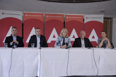 DENMARK_Ms Helle Thorning-Schmidt och ministrar Royaltyfri Foto