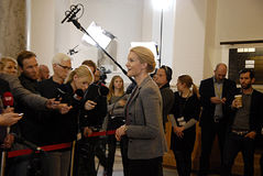 DENMARK_Ms.Helle Thorning-Schmidt_PM. COPENHAGEN /DENMARK- Ms.Helle Thorning-Schmidt prime minister talking to media at christiansborg after question time in stock image