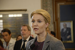 DENMARK_Ms.Helle Thorning-Schmidt_PM. COPENHAGEN /DENMARK- Ms.Helle Thorning-Schmidt prime minister talking to media at christiansborg after question time in stock images