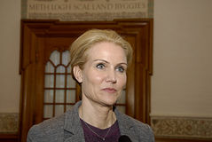 DENMARK_Ms.Helle Thorning-Schmidt_PM. COPENHAGEN /DENMARK- Ms.Helle Thorning-Schmidt prime minister talking to media at christiansborg after question time in Royalty Free Stock Photography