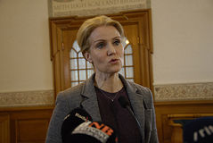 DENMARK_Ms.Helle Thorning-Schmidt_PM. COPENHAGEN /DENMARK- Ms.Helle Thorning-Schmidt prime minister talking to media at christiansborg after question time in Royalty Free Stock Images