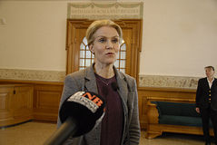 DENMARK_Ms.Helle Thorning-Schmidt_PM. COPENHAGEN /DENMARK- Ms.Helle Thorning-Schmidt prime minister talking to media at christiansborg after question time in Royalty Free Stock Image