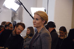 DENMARK_Ms.Helle Thorning-Schmidt_PM. COPENHAGEN /DENMARK- Ms.Helle Thorning-Schmidt prime minister talking to media at christiansborg after question time in stock photography