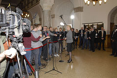 DENMARK_Ms.Helle Thorning-Schmidt_PM. COPENHAGEN /DENMARK- Ms.Helle Thorning-Schmidt prime minister talking to media at christiansborg after question time in Stock Photo