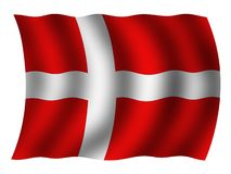 Denmark national flag. Isolated on white Stock Photography