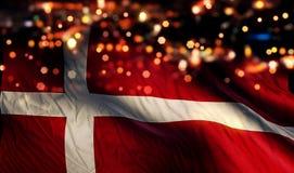 Denmark National Flag Light Night Bokeh Abstract Background. Art Royalty Free Stock Images