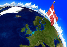Denmark national flag marking the country location on world map. 3D rendering. 3D render of the national flag of Denmark over the geographic location of the Royalty Free Stock Photography