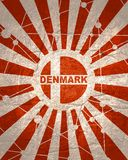 Denmark flag concept. Denmark national flag on sunburst background. Card template for national holiday celebration. Red and white rays textured by lines with royalty free illustration